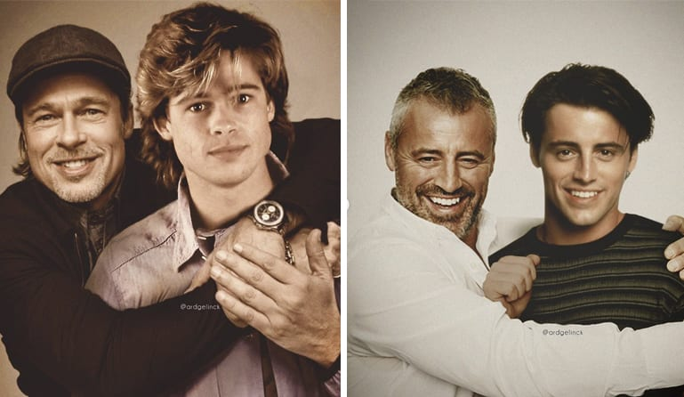 Artist Photoshops Celebrities To Look Like They're Hanging Out With Their Younger Selves